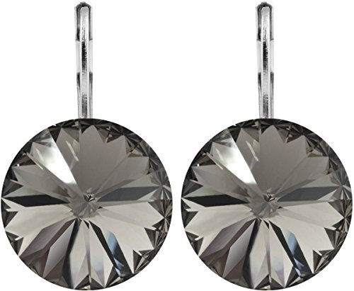 petra kupfer Damen Ohrringe Ohrhänger Rivoli 1 Swarovski®-Kristall 14 mm Schwarz Black Diamond Versilbert hk14tb-black-diamond