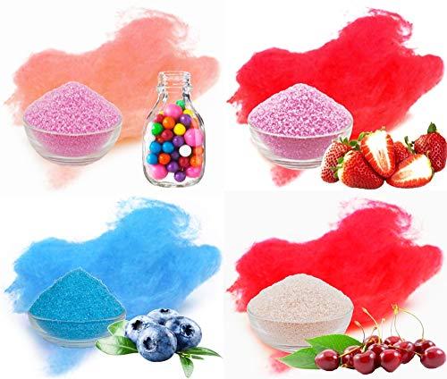 Duftende Gum (Aromazucker 4x250g mit Geschmack Bubble Gum, Erdbeer, Heidelbeere, Kirsche)