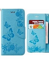 Ougger Funda Huawei Y6 (2018) Carcasa Cuero Tapa Piel Billetera Magnética Protector TPU Suave Silicona Flip Cover Carcasa Huawei Y6 (2018) con Ranura para Tarjetas, Mariposa Tira (Azul)