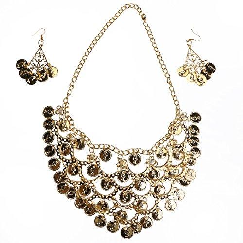 OULII Bauchtanz Schmuck Gold Halskette Ohrringe für Kostümzubehör (Kostüm Von Bild Einem Zigeuner)