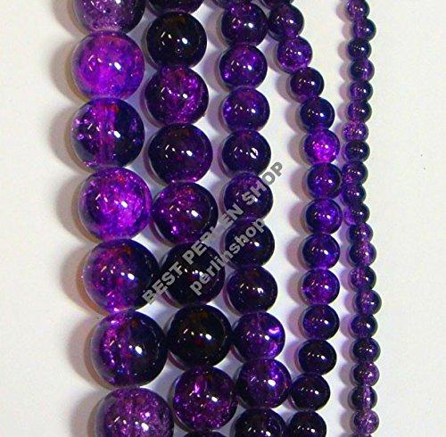 Modeschmuck Lila Billig (Perlen Glas RUND LILA CRACKLE GLASPERLEN 4mm 6mm 8mm CRASH Assortment)