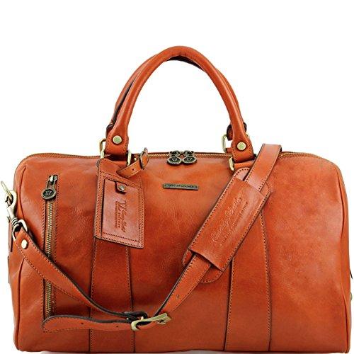 Tuscany Leather TL Voyager - Borsa da viaggio in pelle - Misura piccola Rosso Borsoni in pelle viaggio Miele