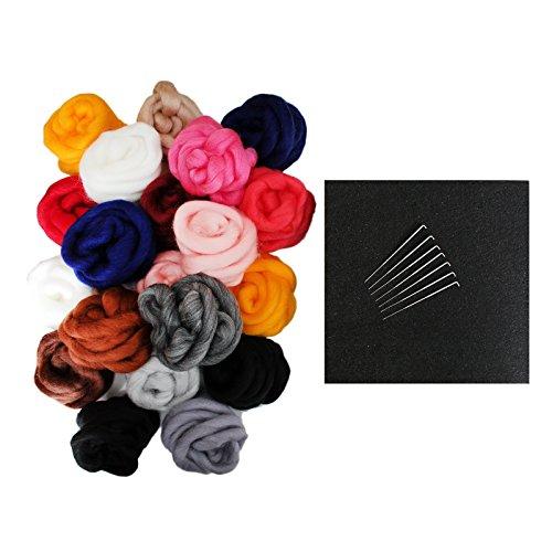 28-teiliges Filznadel Wolle Set mit Nadeln von Kurtzy – 20 Wollbälle, 7 Nadeln und Schaumstoffunterlage – Materialien für Filzkunst – Zubehör für Anfänger – Vollständiges Zubehör Set