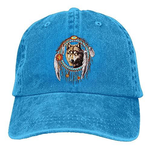surce Lobo Atrapasueños Sombrero de Mezclilla Indio Sombrero de béisbol Lindo Femenino Ajustable