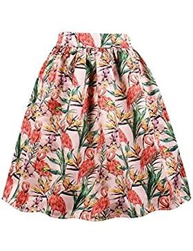 Zilcremo Mujeres Vintage Años 50 Estampado Floral Vestido De Falda De Fiesta Swing Faldas