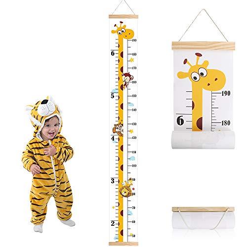 Messlatte Kinder,Outivity Holz Höhe Wachstum Diagramm Aufrollbare Aufhängen Messlatte Lineal Abnehmbar Leinwand Baby Messtabelle für Kinderzimmer Schlafzimmer Wanddekoration