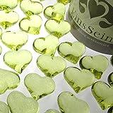 30x Dekosteine FUNKELNDE Herzen 22mm EinsSein® hellgrün Dekoration Streudeko Konfetti Tischdeko Hochzeit