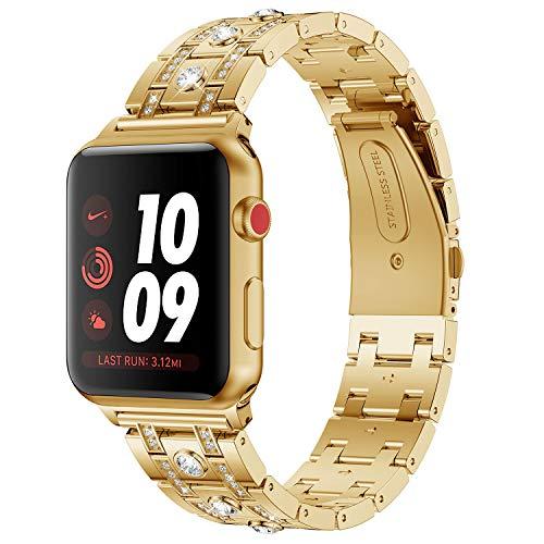 Armband für Apple Watch 42MM, Purple Angel iWatch Series 3 Ersatz Uhrenarmband Armbänder Zinklegierung Metall Band mit Glitzer Diamant Smart Watch Replacement Wrist Strap mit Metallschließe für Apple Watch Series 3/2/1, Nike+, Edition, Gold