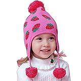 DAYU Kinder Mütze Baby Mädchen Erdbeere Strickmütze Pudelmütze Bommelmütze Girl warm Hut -M