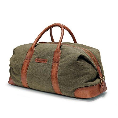 DRAKENSBERG Reisetasche und Sporttasche, groß, handgepäck-tauglich, Kimberley-Duffel-Weekender, 50 L, Canvas und Echt-Büffel-Leder, Oliv...