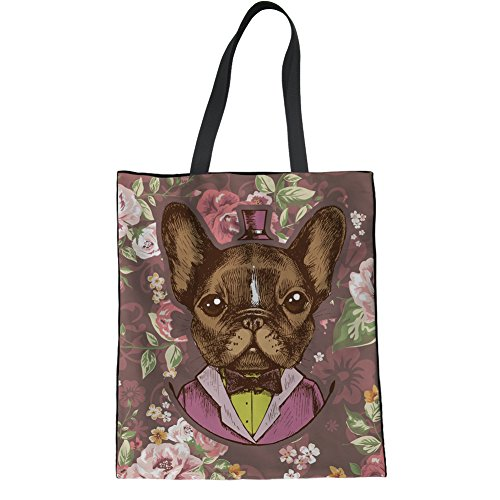 HUGS IDEA French Bulldog Print Canvas Tote Shopping Bag Hipster College Bag Ladies Shoulder Bag -