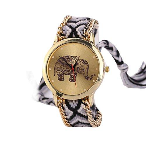 HUIHUI Uhren Damen, Geflochten Armbanduhren Günstige Uhren Wasserdicht Casual Elefant Muster gewebt Seil Band Armband Quarzuhr Coole Uhren Lederarmband Mädchen Frau Uhr (Schwarz)