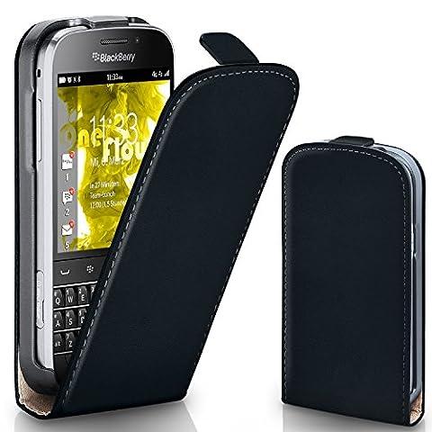 Pochette OneFlow pour BlackBerry Classic housse Cover magnétique | Flip Case étui housse téléphone portable à rabat | Pochette téléphone portable téléphone portable protection bumper housse de protection avec coque en DEEP-BLACK