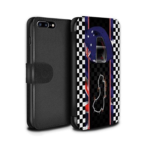 Stuff4 Coque/Etui/Housse Cuir PU Case/Cover pour Apple iPhone 7 Plus / Russie/Sochi Design / F1 Piste Drapeau Collection Australie/Melbourne