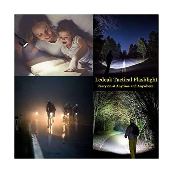 Ledeak Cree XML L2 LED Torch,1200 Lumens Adjustable Focus LED Flashlight 5 Modes Rainproof Handheld Torch Light for Indoor and Outdoor Hiking,Cycling,Camping 7