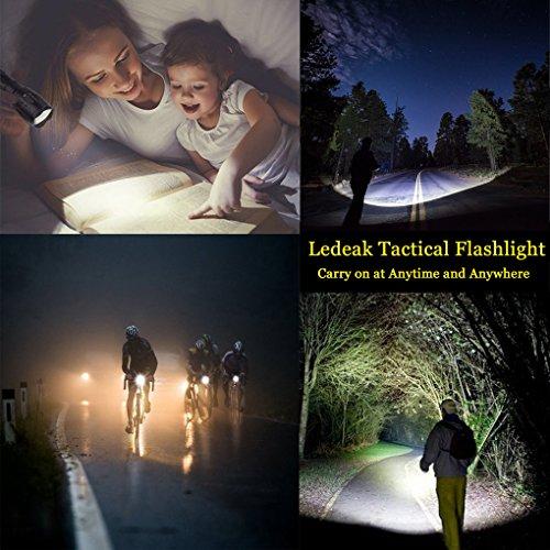 Torche Lampe de Poche Led Rechargeable, Ledeak CREE 1200 lumens XM-L2 Tactique Ultra Puissante Militaire, 5 Modes Intensité Ajustable Zoomable étanche Lampe Torche (18650 Pile Rechargeable incluse)