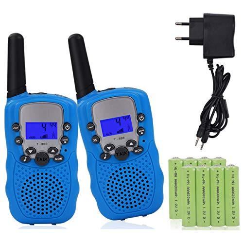 Miavogo 2 x Walkie Talkie Set für Kinder PMR Funkgerät mit LC-Display + Taschelampe - Reichweite bis zu 3 Km, Blau