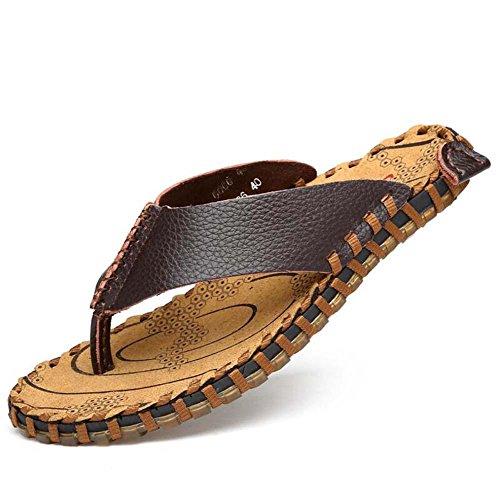 Hausschuhe Thongs Flip Flops Männer Clip Toe Hausschuhe Anti-Rutsch Handstich Strand Sandalen Lässige Schuhe Eu Größe 38-44 Dark Brown