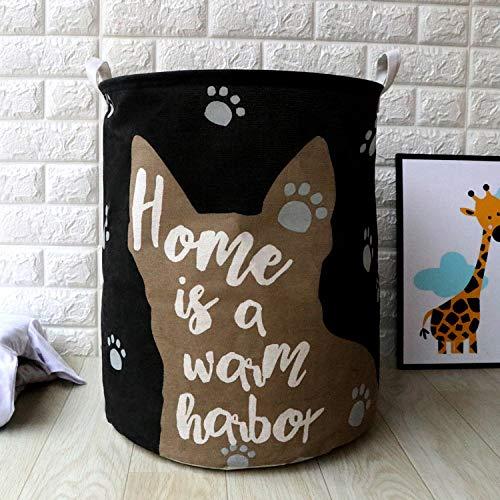 Gu3Je Perfekt für die Aufbewahrung im Haushalt, Spielzeug oder Wäsche. 40 cm Durchmesser x 45 cm Höhe Schwarzer Hundekopf 40X50cm -
