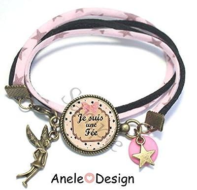 Bracelet liberty étoiles Fée - fille noir blanc rose