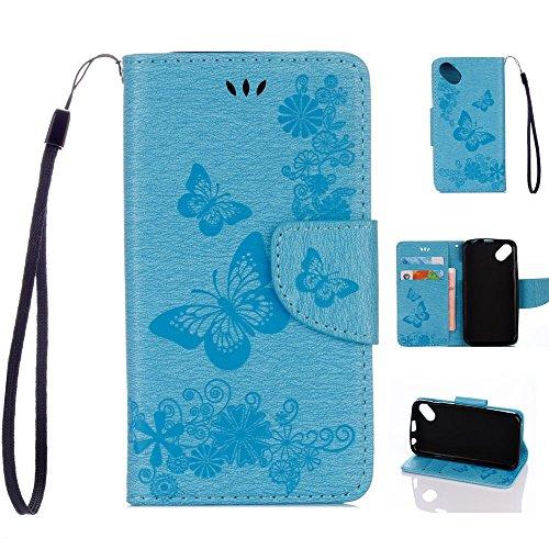 Wiko Sunny Handyhülle Book Case Wiko Sunny Hülle Klapphülle Tasche im Retro Wallet Design mit praktischer Aufstellfunktion - Etui in blau