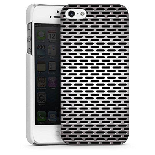 Apple iPhone 5s Housse Étui Protection Coque Tôle Metallic Look CasDur blanc