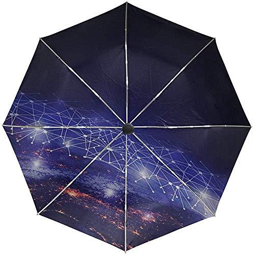 Automatischer Regenschirm Galaxy Earth Network Travel Praktisch Winddicht Wasserdicht Schnelltrocknend Zusammenklappbar Auto Öffnen Schließen