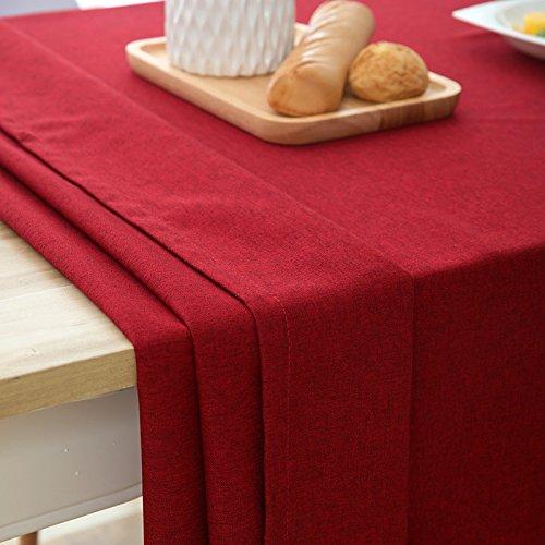 Woo.L.L Rot und reine Farbe einfache Tabelle Tuch Tuch Baumwolle und Leinen home wasserdichte Esszimmer Wohnzimmer rechteckige Tischdecken,90*90cm.