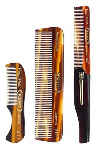 Kent Gentlemen's Comb Set: 81T Beard and Moustache Comb, FOT Pocket Comb, and 20T Folding Pocket Comb with Clip by Kent -