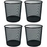 Callas Metal Mesh Round Dustbin for Home, Kitchen and Office, 7.8L(Black) - Set fo 4