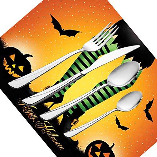 30-teiliges Besteckset, Halloween-Geschirr, Edelstahl-Besteckset für 6 Personen, einschließlich Messer, Gabeln, Löffel, Teelöffel und Tischset, Cartoon-Hexenbeine mit gestreiften Gamaschen