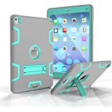 OnPrim Slim Fit Silicone Rubber PC Hybrid Shock Proof Bumper Built-in Kickatand Back Cover Case For iPad Air 2 9.7 Inth Gray+Green