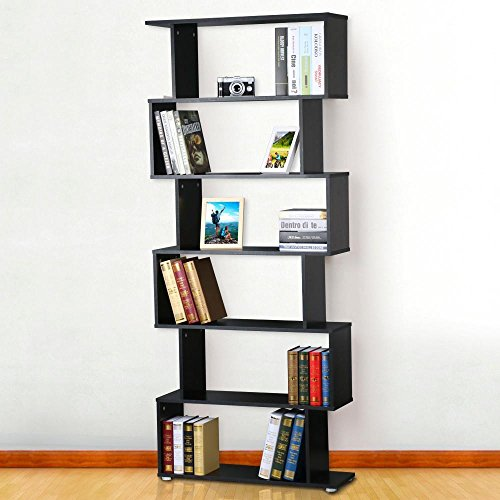 Popamazing 6Etagen 192cm hohes Bücherregal Holz Schrank schwarz Hochglanz Raumteiler Regal Magazin Buch Halter DVD/CD Rack Standregal Bücherregal