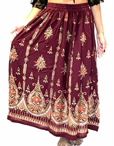 Atemberaubende Damen Indische Boho Hippie Zigeuner Sequin Sommer Sommerkleid Maxi Rock M L (WEIN)