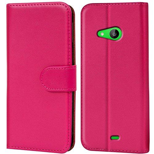 Verco Lumia 535 Hülle, Handyhülle für Microsoft Lumia 535 Tasche PU Leder Flip Case Brieftasche - Pink