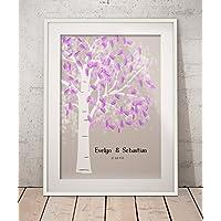 Fingerabdruck Gästebuch von CristalPainting Hochzeitsbaum Wedding Tree Hochzeit Fingerprint Baum Hochzeitsgästebuch auf Papier 29,7x21 cm DIN A4