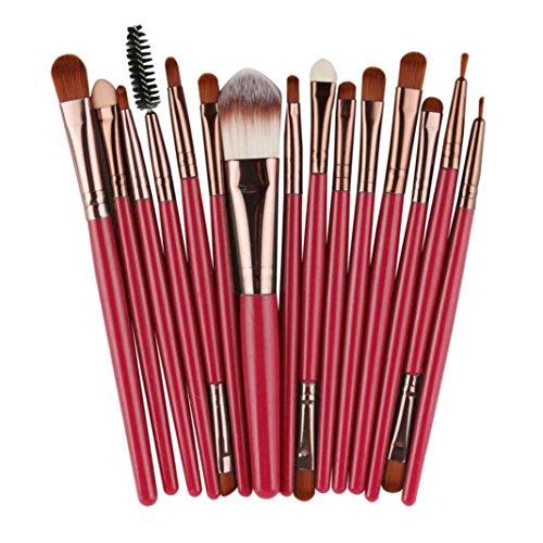 LONUPAZZ 15 pcs/set maquillage brush set makeup brushes kit outils maquillage professionnel maquillage pinceaux yeux pinceau pour les lèvres (Café)