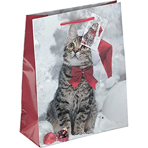 bambelaa. Set di 12rossa e bianca Paper Bags Gattino natalizio