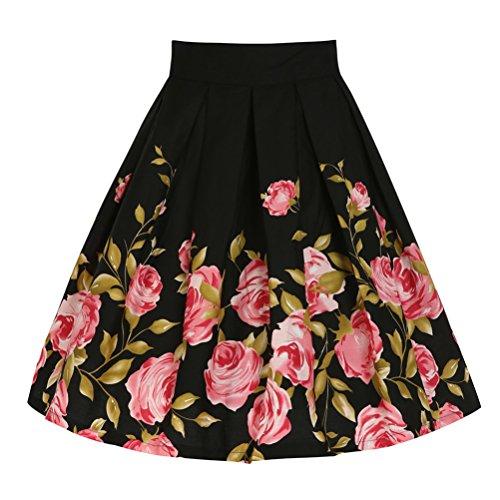 Mujer Vintage Falda Impresión Floral Vintage 50s Rockabilly Cintura Alta Falda Plisada L Negro