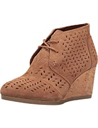 Toms Women's Desert Wedge Suede Toffee Perforated Feaf Ankle-High Suede Pump - 8.5M