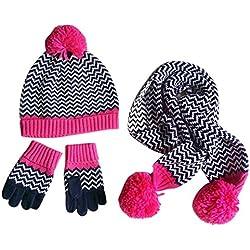 Happy Cherry set di 3pcs cappello berretto maglia + sciarpa + guanti maglia bambino bambino ragazza pompon Graffi gancio caldo in cotone lana Torre di testa 48-54cm per 1-8anni Magenta rosso Magenta M:Tour de tête 50-52cm/3-5ans