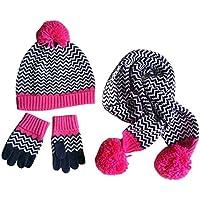 Happy Cherry set di 3pcs cappello berretto maglia + sciarpa + guanti maglia bambino bambino ragazza pompon Graffi gancio caldo in cotone lana Torre di testa 48–54cm per 1–8anni Magenta