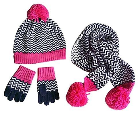Happy Cherry Lot de 3 PCS Chapeau Bonnet Tricot + Echarpe + Gants Tricot Enfant Bébé Fille Pompon Rayure Crochet Chaud en Coton Laine Tour de tête 48-50cm pour 1-3ans Magenta