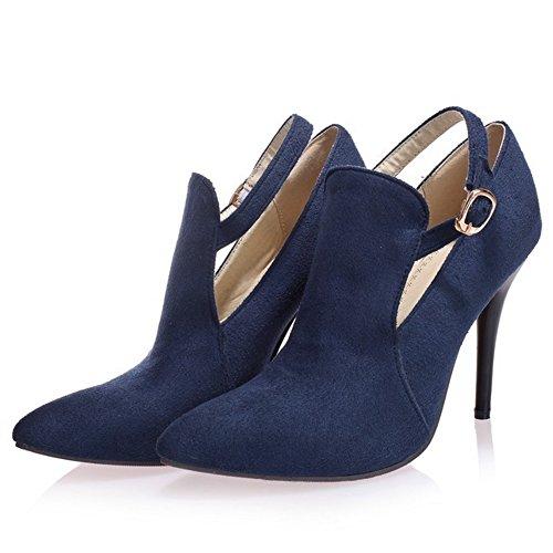 TAOFFEN Femmes Aiguille Escarpins Mode Talons Hauts Pointue Chaussures De Boucle Bleu