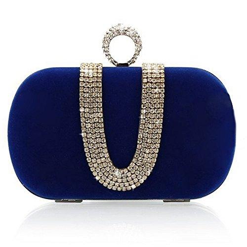 ERGEOB® Donna Clutch Clutch flanella sacchetto di sera frizione per matrimonio Party Festa teatro azzurro