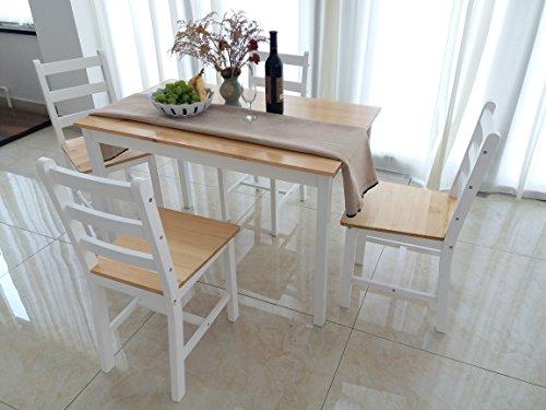 Panana, set di tavolo da pranzo e 4sedie, in stile contemporaneo natural pine