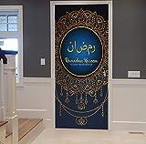 Neuheiten Ramadan und Mubarak Eid Home Decor Türaufkleber für Wohnzimmer Aufkleber Portes Decoratives 3d Muslim Wandaufkleber