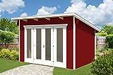 SKAN HOLZ Gartenhäuser, Blockbohlenhaus Ostende 1, schwedenrot, 250 x 350 x 249,5 cm, 603695-15
