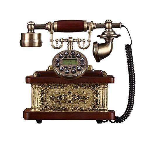 RMXMY Antikes europäisches Festnetztelefon aus hochwertigem Massivholz