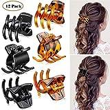 12 Stücke Haar Klaue Clips Mittelgroße Haar Klaue 1,3 Zoll Haarbackenclip Klaue Clip Griff für Frauen Mädchen Dickes oder Mittleres Haar (Schwarz und Braun)